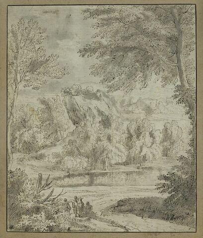 Arbres et rochers au bord d'un cours d'eau