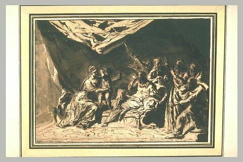 Moïse dans les bras de la fille de Pharaon, devant Pharaon