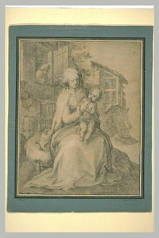 La Vierge et l'Enfant devant une chaumière, avec saint Joseph à la fenêtre
