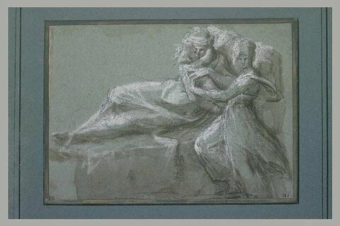 Femme couchée embrassant un enfant, et jeune fille