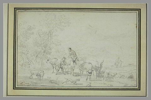 Paysage avec un troupeau et deux paysans