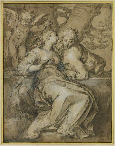 Angélique et Médor enlacés par l'Amour