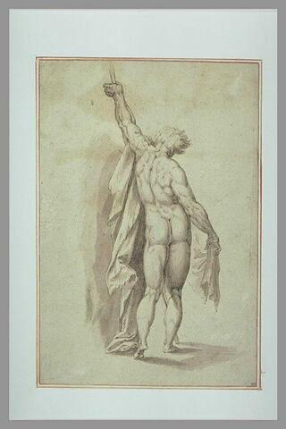 Etude d'homme nu, debout, de dos, le bras gauche levé