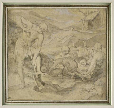 La famille d'Adam : Adam bêche et Eve file devant les deux enfants