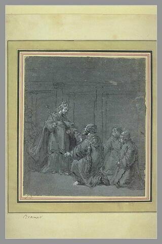 Une reine remet un livre à un des trois personnages agenouillés devant elle