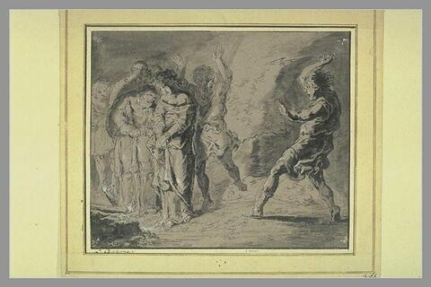 Supplice d'une vestale, entourée de cinq personnes et d'un homme armé