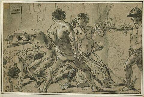 Persée présentant la tête de Méduse à des hommes effrayés