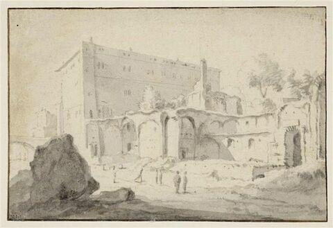 Vue présumée de Monte Savello, sur le Tibre, à Rome