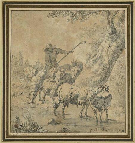 Un berger conduisant un troupeau à l'abreuvoir