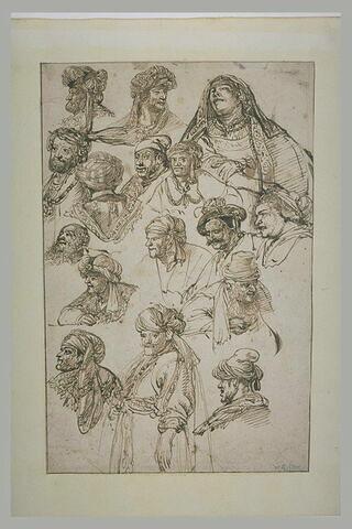 Seize études de têtes et bustes d'hommes et de femmes, vêtus à l'orientale