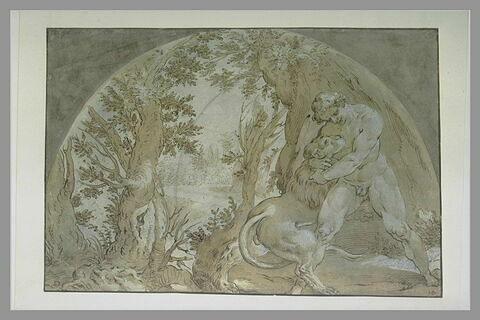 Hercule étouffant le lion de la forêt de Nemée