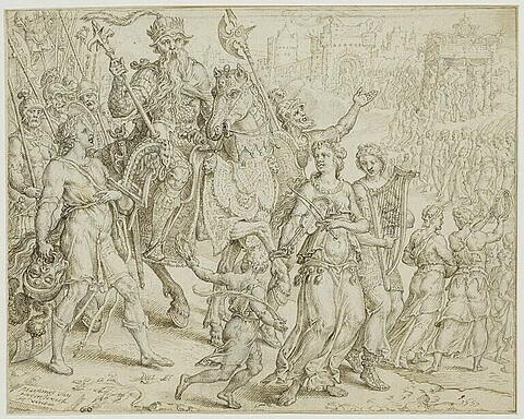 Le retour triomphal de David vainqueur de Goliath