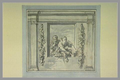 Embrasure de fenêtre où l'on voit une jeune femme et un vieillard