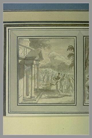 Cortège antique se dirigeant vers un temple