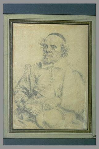 Portrait d'un homme assis, tenant son chapeau à la main