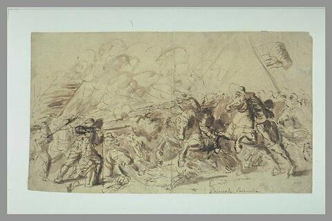 Violent affrontement de cavaliers et de fantassins