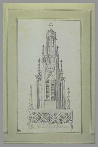 Détail du sommet d'un clocher gothique