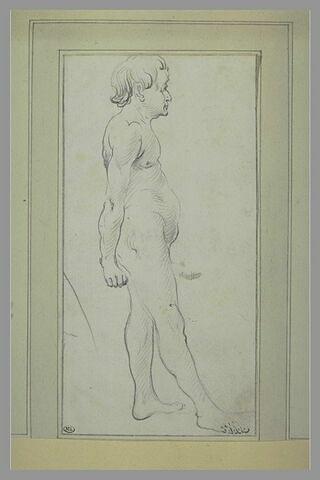 Homme nu, de profil, tourné vers la droite