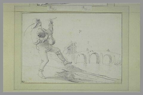Paysan dansant dans un paysage, près d'un fleuve