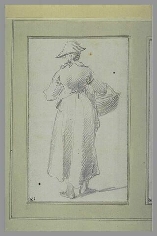 Jeune servante, de dos, portant un panier