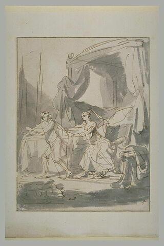 La femme de Putiphar tentant de séduire Joseph