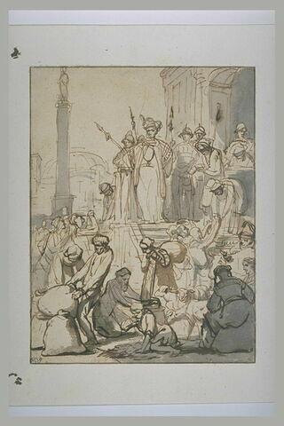 Joseph, gouverneur d'Egypte, distribuant le blé
