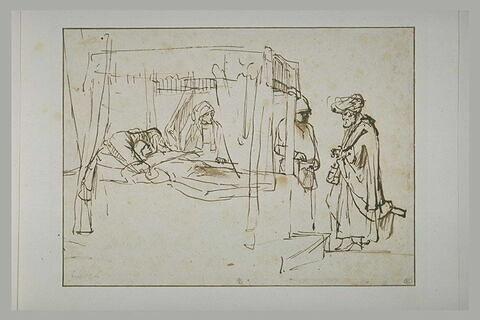 Le samaritain payant l'hôte pour soigner le blessé recueilli