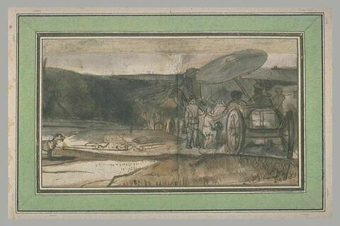 Voyageurs dans un chariot