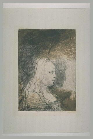 Jeune fille en corsage échancré, en buste, de profil
