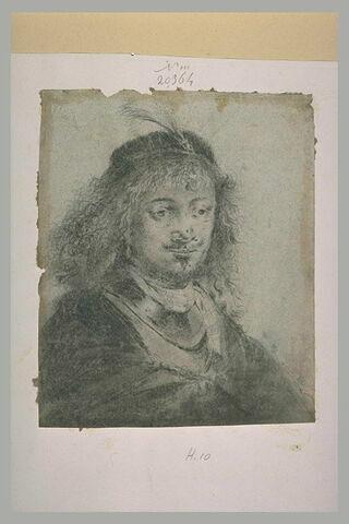 Portrait d'homme à toque ornée d'une plume