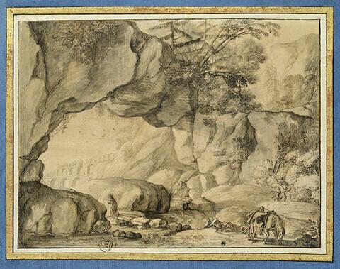 Paysage rocheux avec la parabole du Bon Samaritain