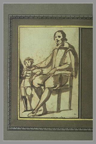 Homme assis et un enfant debout à côté de lui