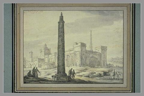 Composition de bâtiments antiques, avec une colonne commémorative