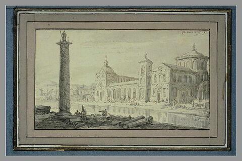Un grand édifice, séparé d'une colonne commémorative par une rivière