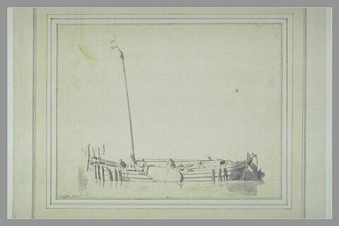Barque aux voiles carguées