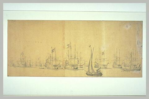 Flotte hollandaise et danoise, à l'ancre, en 1658