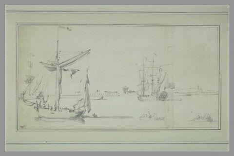 Barque à voiles et deux trois-mâts à l'ancre