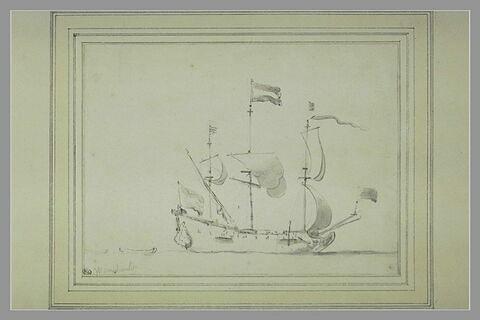 Trois-mâts hollandais vu de côté, la proue à droite