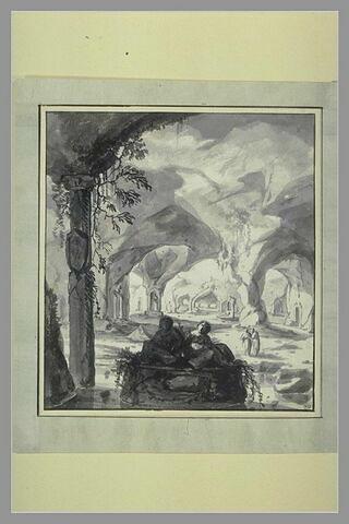 Vaste caverne ornée de monuments antiques