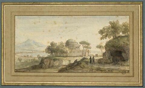 Un temple en forme de rotonde, au bord d'une baie