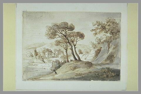 Paysage italien, avec une villa dans le lointain