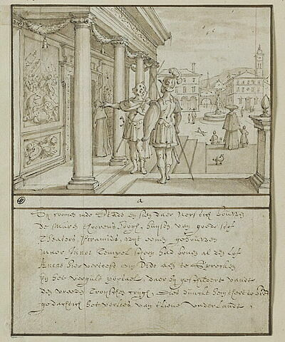 Enée et son compagnon devant le temple de Junon