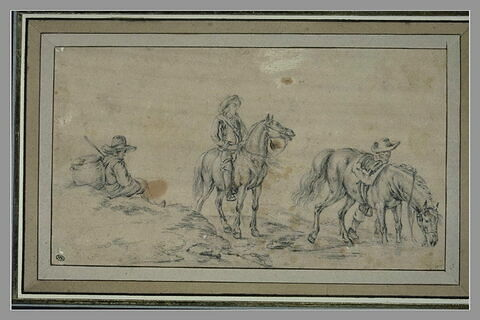 Deux cavaliers abreuvant leurs chevaux au bord d'une rivière, et un paysan