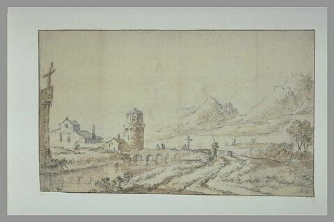 Pont menant à une tour, dans un paysage avec des montagnes dans le lointain