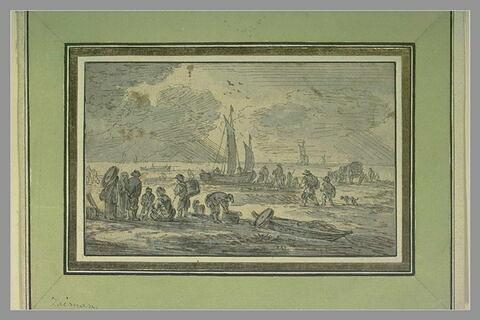 Arrivée d'une barque sur une plage