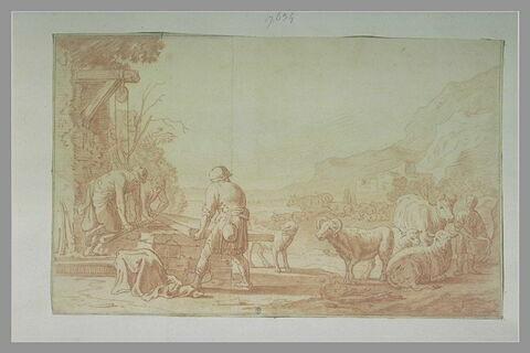 Trois bergers retirant le couvercle de pierre prot+geant un puits