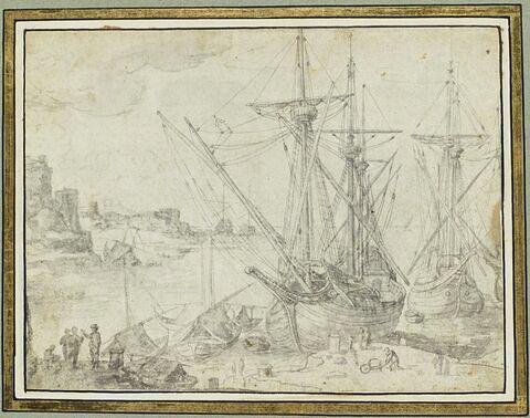 Port de mer avec vaisseaux et figures