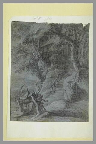 Une cabane parmi des arbres, perchée sur un rocher, avec un puits