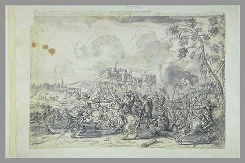Combat de cavalerie, avec au loin une forteresse sur un promontoire