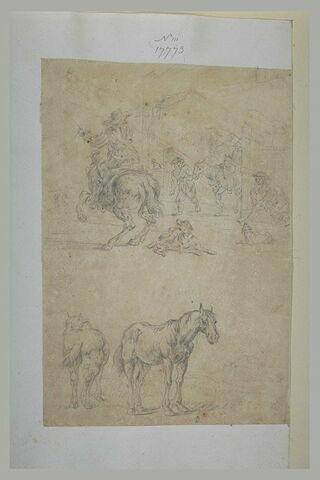 Deux études de chevaux, et d'une scène rurale, à la sortie d'une ferme